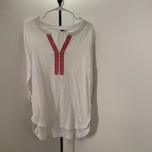 White Embroidered Sheer Blouse